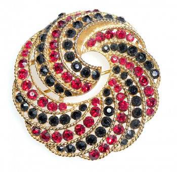 2040047  Lisner Black & Red Rhinestone Brooch