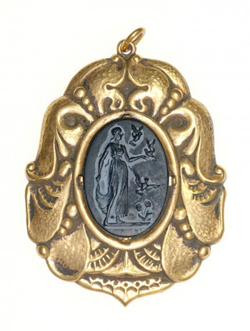 2040051  Nouveau Repousse Brass & Celluloid Pendant - Product Image