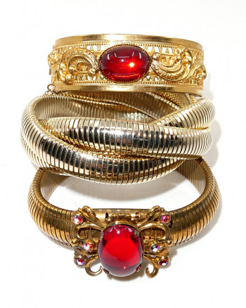 216128  Filigree Hinged Bangle with Red Stone Accent - Product Image