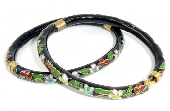 216113  Pair Cloisonne Hinged Bangles  - Product Image