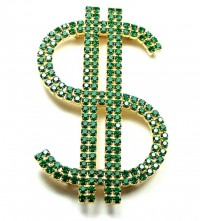 195036  Bauer Prong Set Emerald Green Rhinestone Money Brooch - Product Image